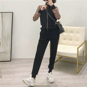 Leopard Jacquard Long Sleeve Tracksuit Jacket Trousers Sets Women Slim Long Sleeve Zipper Cardigan+Pencil Pant Suit 2 Piece Set