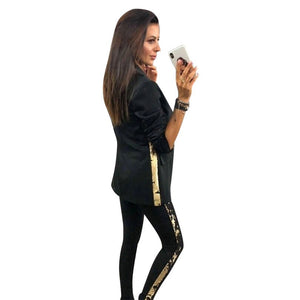 MVGIRLRU Women Blazer Jacket +trouser Set Fashion Sides Sequins Sewing Tracksuit Office Lady Long Pant Suits Outfit