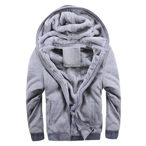MoneRffi 2019 Winter New Tracksuit Men Fashion Thicken Velvet Casual Hooded Warm Thick Hoodie Solid Moleton Masculino Sweatshirt