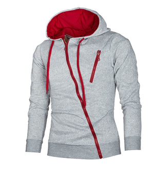 New Men's Hoodies Fashion Side Zipper Hooded Sweatshirts Tracksuit Casual Male Drawstring Slim Hoody Outerwear Plus Size Tops
