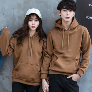 New Casual Lovers Loose Coat Solid Color Male Long Sleeve Hoodie Sweatshirt Men Tracksuit Sportswear Hoodies Men Brown Hoodie