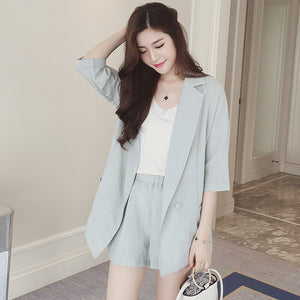 Office Lady Women Cotton Linen Blazer Shorts Suit Set Half Sleeve Jacket Coat+High Waist Pocket Mini Pant Suits Tracksuit
