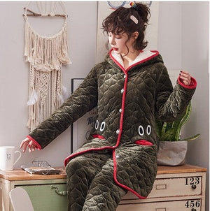Pajamas Winter Plus Velvet Three Layer Thick Quilted Babe Velvet Warm Cotton-padded Clothes Tracksuit Korean-style Sweet