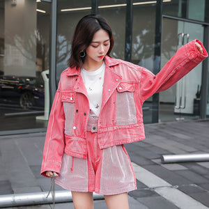 Pink Denim Jacket Shorts 2 Piece Sets 2019 Spring Autumn Biker Style Short Jacket + Pants Two Piece Set Tracksuit