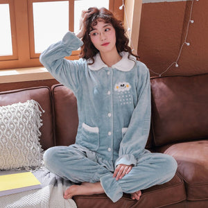 Plus Size 3XL 4XL 5XL 90kg Sleepwear Women Pajama Sets Long Sleeve Warm Women Flannel Pajamas Set Winter Print Thicken Tracksuit