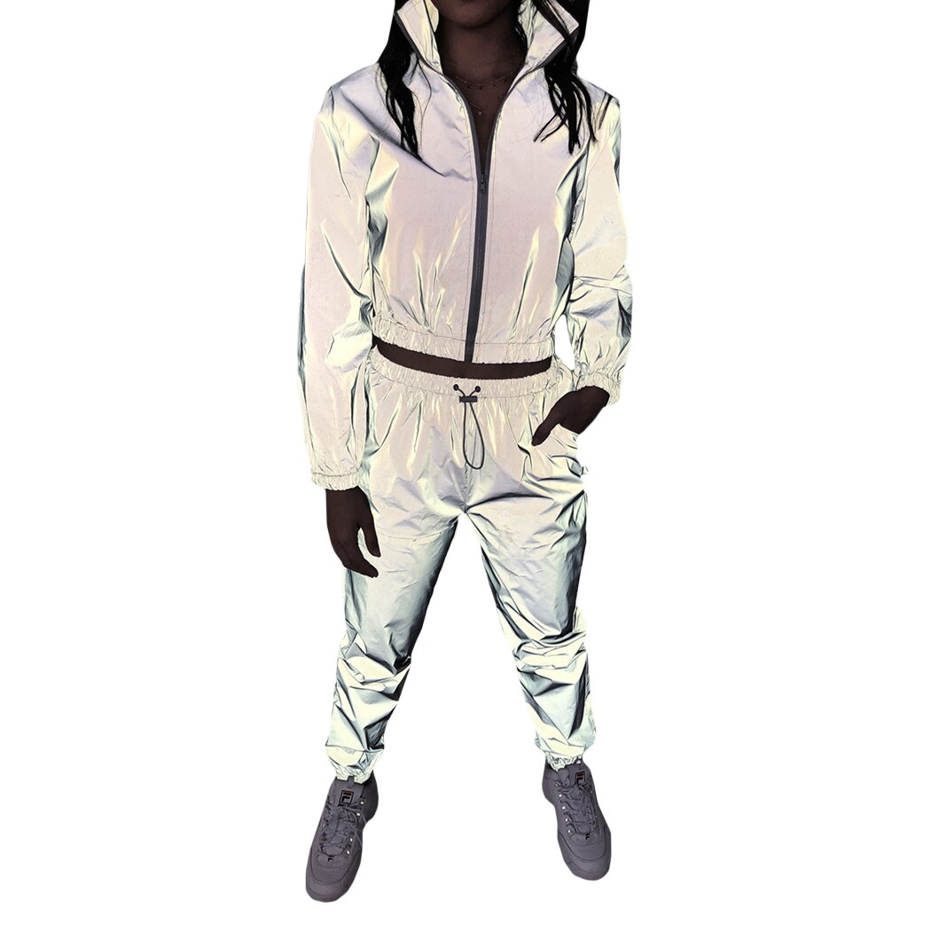 Reflective Tracksuit Two Piece Set Women Crop Top Jacket Pants Streetwear Long Sleeve Zip Cropped Sweatshirt Trousers Sportwear