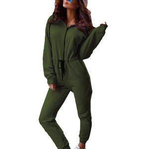 Rompers Women Jumpsuit Tracksuit Casual Long Sleeve Hooded Jumpsuits Fitness Long Pants Ladies Zipper Pocket Overalls Sportswear