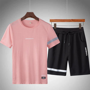 Sportswear Tracksuit Summer Short Set Tshirt +pants Breathable Casual Beach 2019 Men T-shirt Suit Gyms Fitness Sportsuits Design