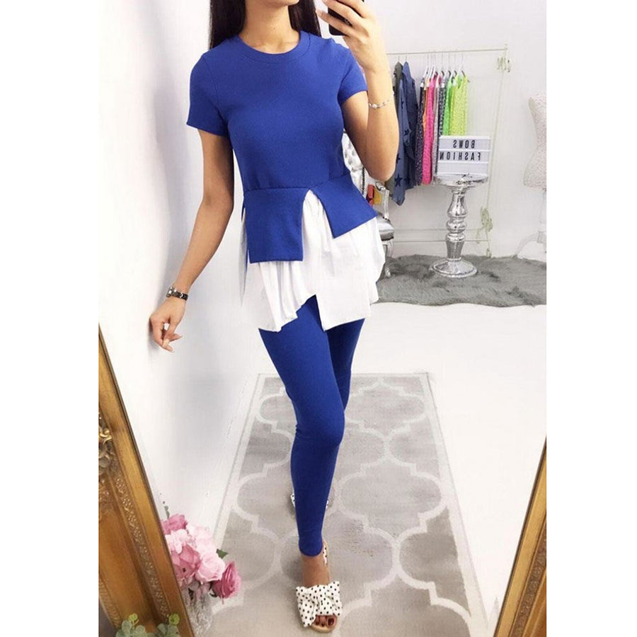 Two Piece Set Women Ruffle Patchwork Top Long Pants Tracksuit Short Sleeve Blouse Fitness Pencil Pants Suits Outfits 2 Piece Set