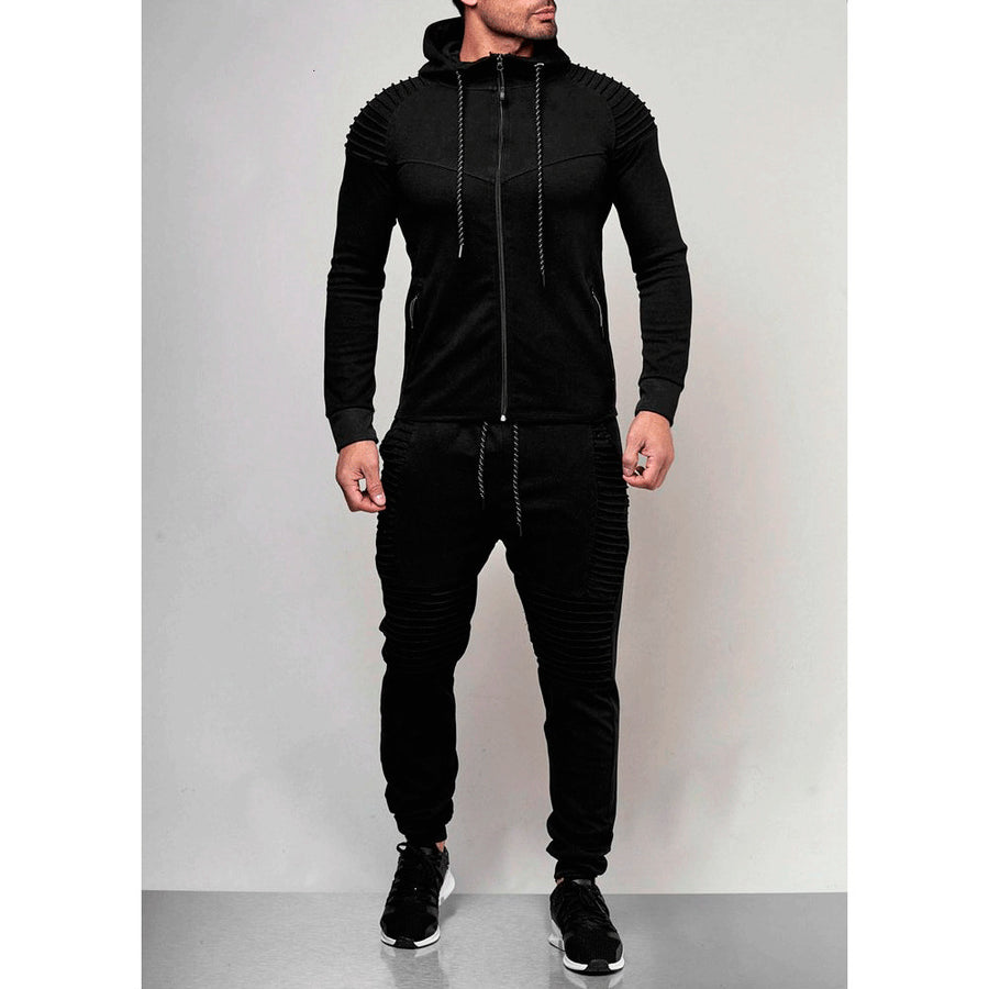 Two Pieces Set Men Hoodies Jacket Pants Male Fitness Sportswear Tracksuit Casual Zipper Sweatshirt + Sweatpants 2 Pieces Set