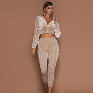 Two Pieces Set Women Velvet Tracksuit Crop Top Pants Outfits Cropped Hoodies Trousers Suit 2 Piece Set Sportswear
