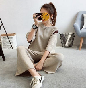 UK New 2019 Autumn Spring Oversized Knitted Tracksuit O Neck Sweatshirts Women Suit Clothing Sweater Pant 2 Piece Set
