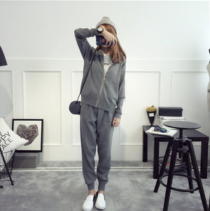 UK New 2019 Autumn Spring Oversized Knitted Tracksuit Zip Sweatshirts Women Suit Clothing Sweater Pant 2 Piece Set
