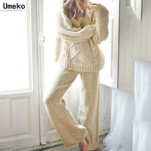Umeko 2019 Autumn Cotton Tracksuit Women 2 Piece Set Sweater Top+Pants Knitted Suit O-Neck Knit Set Women Outwear 2 Piece Set