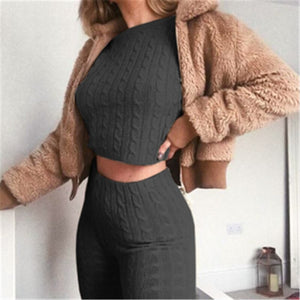 Umeko Slim Autumn Cotton Tracksuit Women 2 Piece Set Sweater Top+Pants Knitted Suit O-Neck Knit Set Women Outwear 2 Piece Set