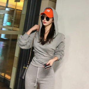 Women Autumn Tracksuit Grey Pant Set Long Sleeve Sashes Hoodies Sweatshirts + Long Pants Women Two Piece Set Outfits Sportswear