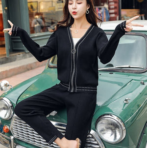 Women Casual Tracksuit 2019 Spring V-neck Zipper Up Knit Sportwear Long Sleeve Sweater+Elastic Waist Pant Set Outfit 2 Piece Set