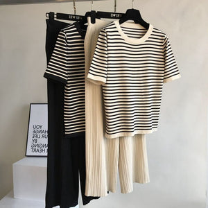 Women Fashion Striped Knitted Pullover Top+High Waist Lace-up Wide Leg Pant Suit Short Sleeve Knit Tracksuit Trousers 2PCS Sets