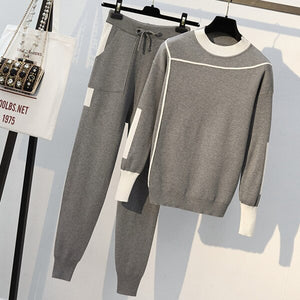 Women Knitted 2 Piece Set Casual Sportsuit O Neck Long Sleeve Pullover Sweater Pant Set Autumn Winter 2Pcs Clothes Tracksuit