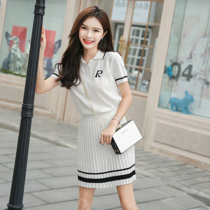 Women Summer Knitting 2 Two Piece Set Polo Collar Letter Print Top With Ruffle Mini A_line Skirt Matching Sets Tracksuit