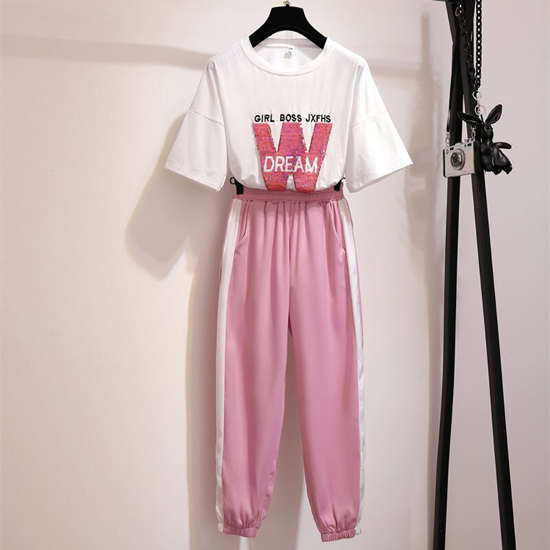 Women Summer Two Piece Set Sport Pullover T-Shirt Pant Set Casual Pink Sequined Letter Embroidery Short Sleeve Top Tracksuit