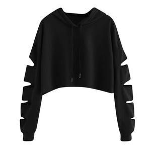 Women's Crop Tops Sweatshirt Girls Casual Long Sleeve Solid Print Hollow Plaid Loose Pullover Hoodie Tracksuit