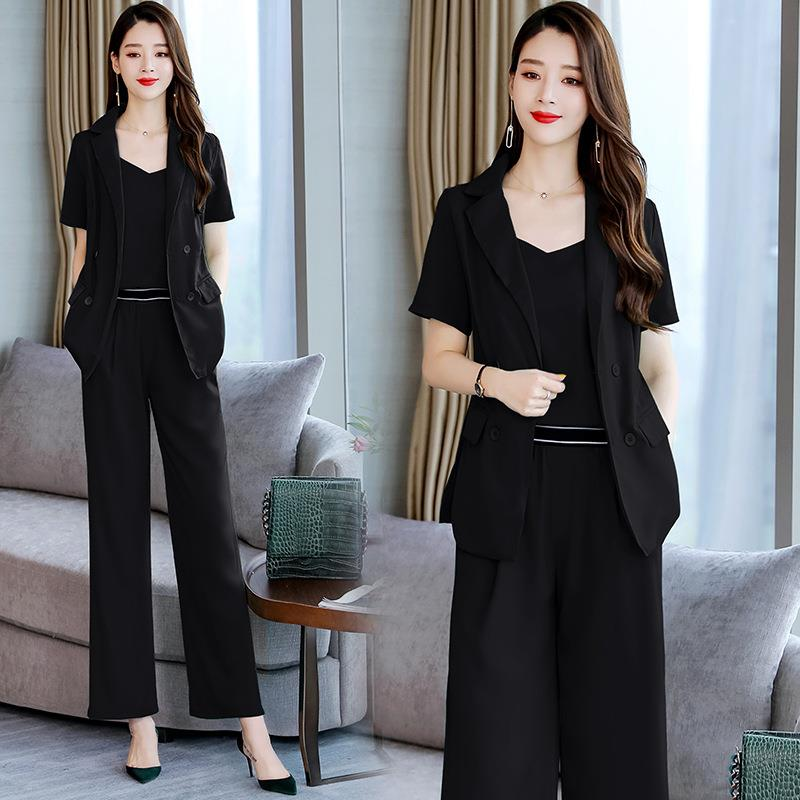 Women's Wide Leg Pants Suits New Short-sleeved Blazer +Top + Trousers 3 Pieces Set Women Tracksuit Fashion Ladies Work Wear