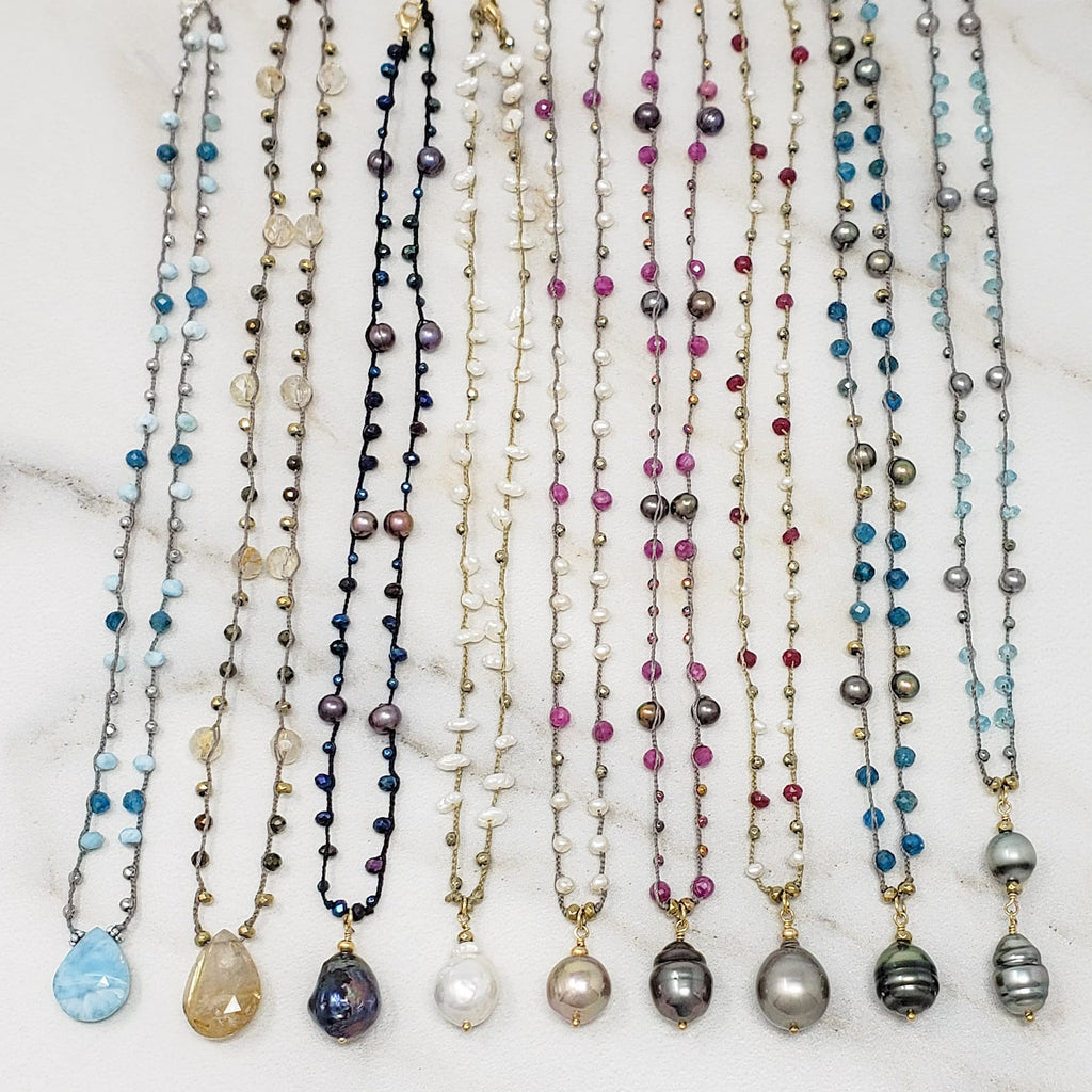 Freshwater and Tahitian Pearl Leather Lariat Necklaces made by Oceania on Maui
