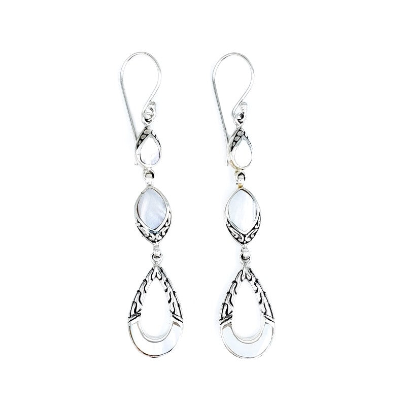 Long Mother of Pearl Drop Earrings with Filigree