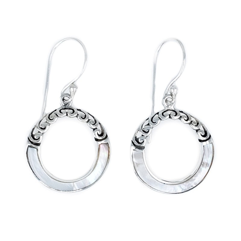 Small Round Mother of Pearl Hoop Earrings with Filigree