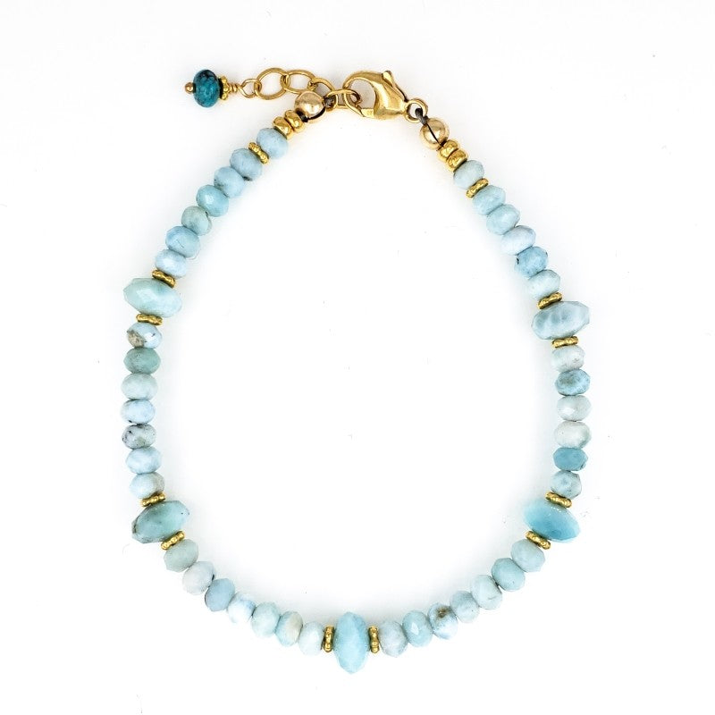 Larimar Bracelet with Gold Beads