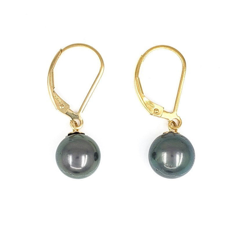 8mm Peacock Tahitian Pearl Gold Earrings