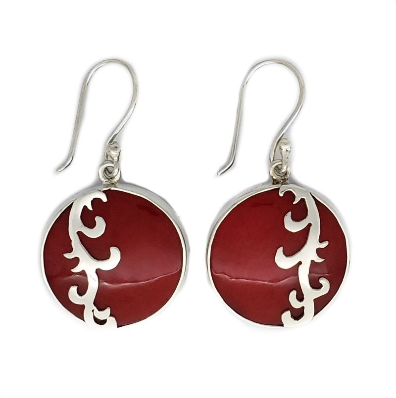 Red Coral Earrings with Small Sterling Silver Waves