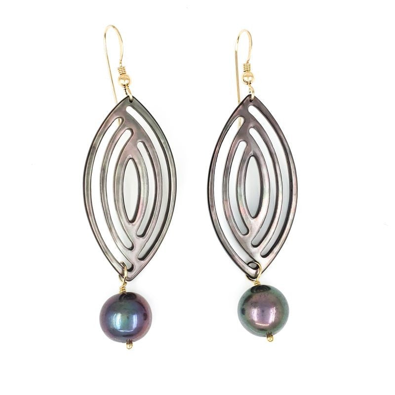 Long Tahitian Shell Earrings with Dark Freshwater Pearls