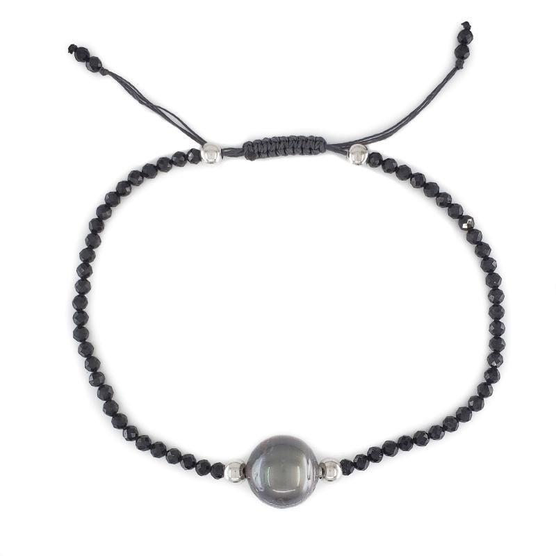 Black Spinel Bracelet with Tahitian Pearl
