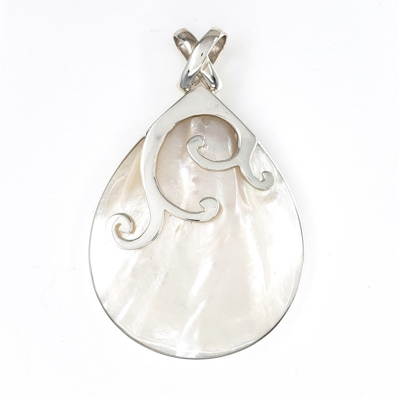 Large Mother of Pearl Droplet Pendant with Silver Whale Tails