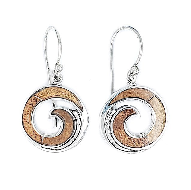 Round Maui Wave Earrings with Koa Wood
