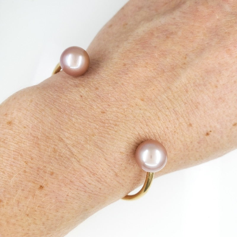 Gold Cuff Bracelet with 10mm Pink Edison Pearls