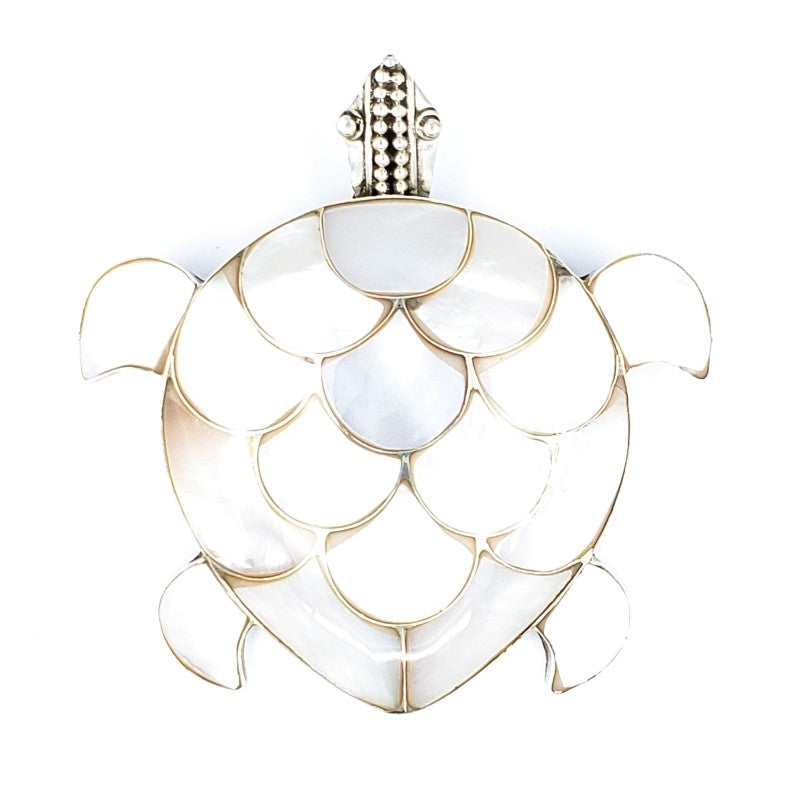 Large Turtle Pendant with White Mother of Pearl
