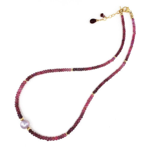 Rubies & Sapphires Necklace with 10mm Lavender Edison Pearl