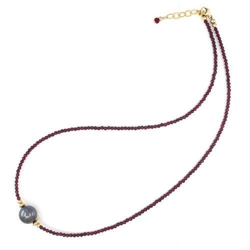 Rubies Necklace with 10mm Dark Freshwater Pearl