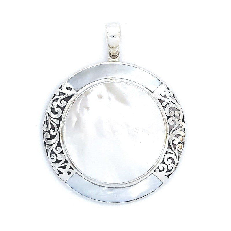 Fancy Large Round Mother Of Pearl Pendant with Filigree
