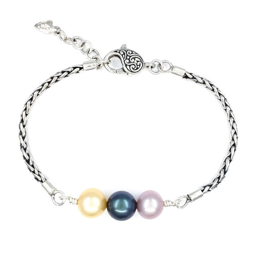 Handmade Sterling Silver Bracelet with Edison, Tahitian, and South Sea Pearl