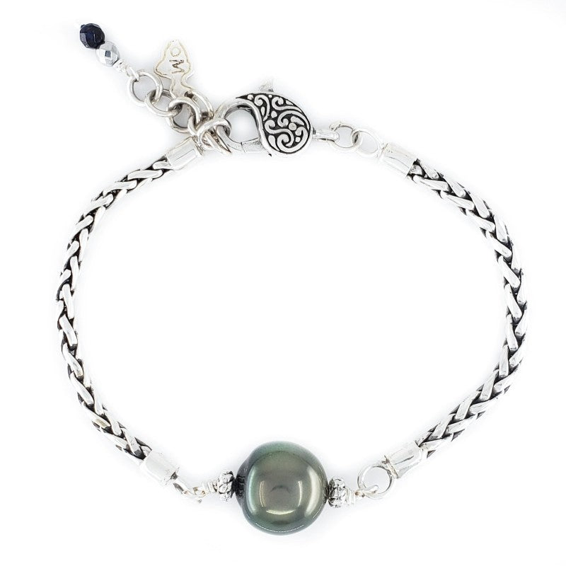 Handmade Sterling Silver Wheat Bracelet with Tahitian Pearl