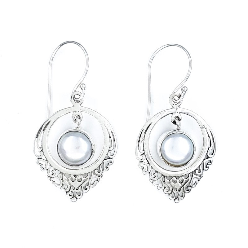 White Freshwater Pearl Earrings with Filigree