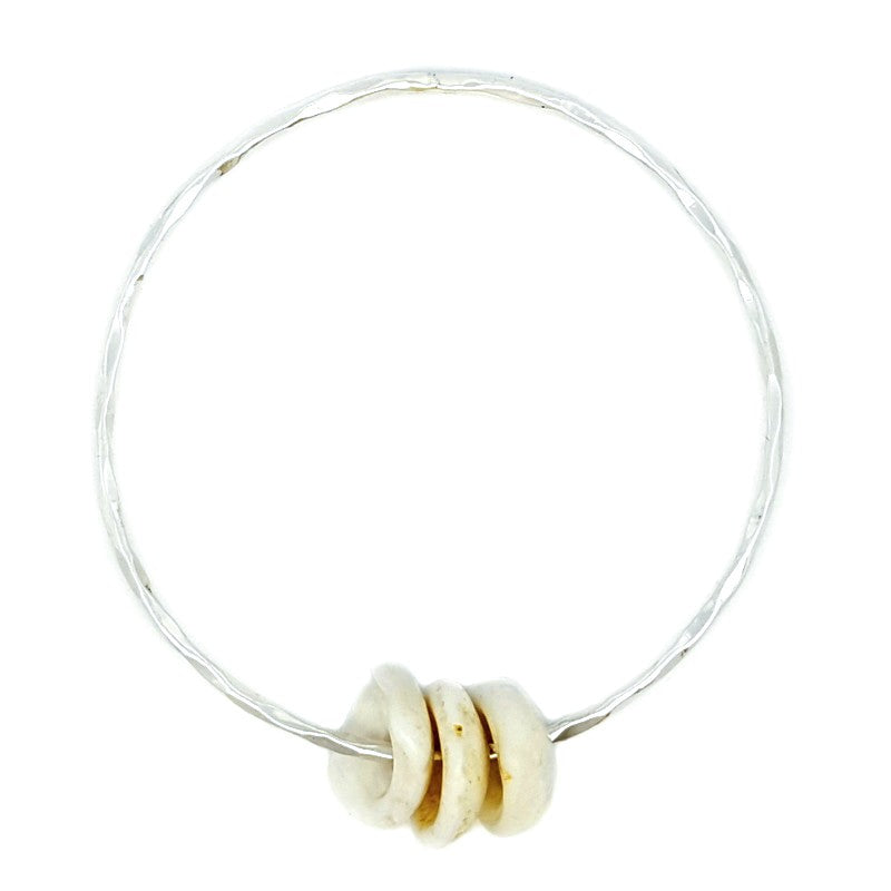 Hammered Bangle Bracelet with Puka Shells