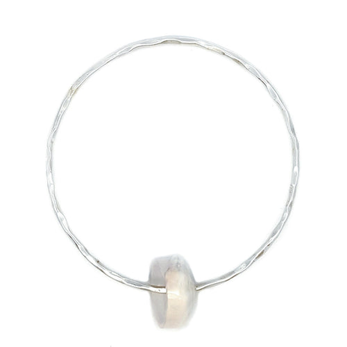 Hammered Bangle Bracelet with Puka Shell