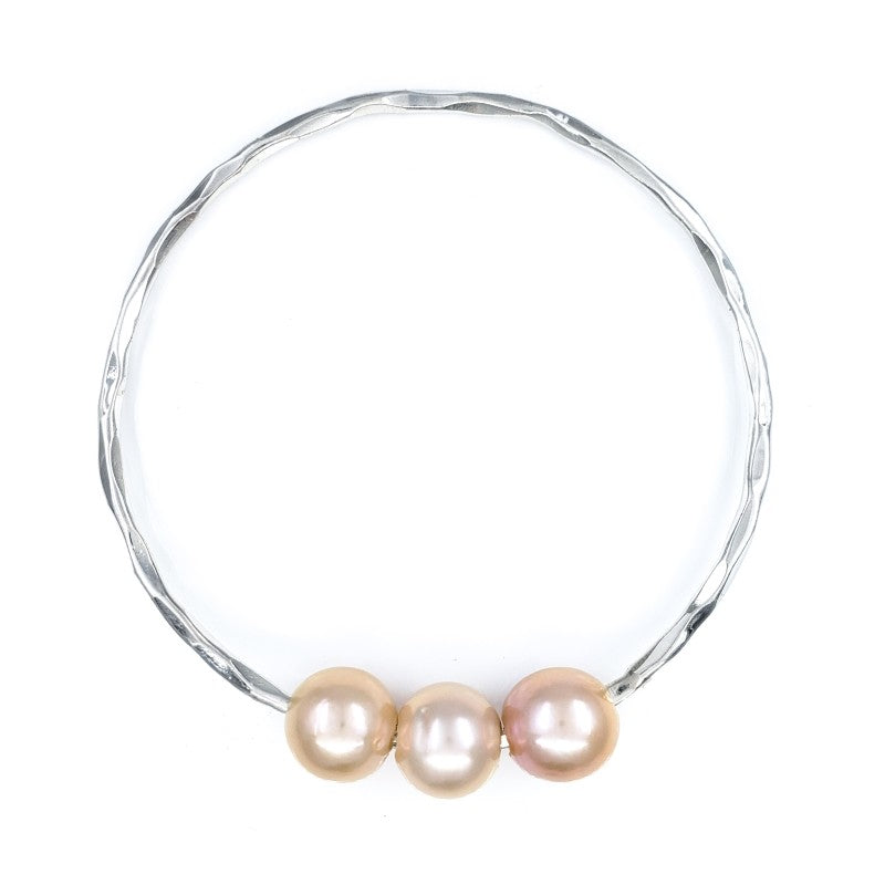 Hammered Bangle Bracelet with 3 Pink Edison Pearls