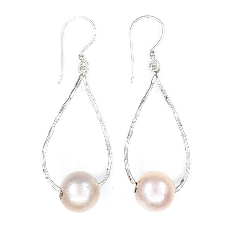 Small Hammered Droplet Earrings with Pink Freshwater Pearls