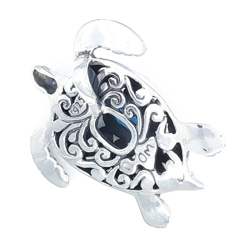 Large Ornate Silver Turtle Pendant with Blue Topaz